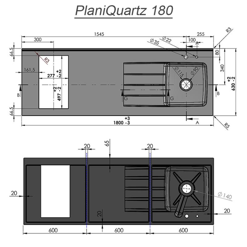 Plan de travail monobloc PlaniQuartz avec évier à gauche - 180cm NERO