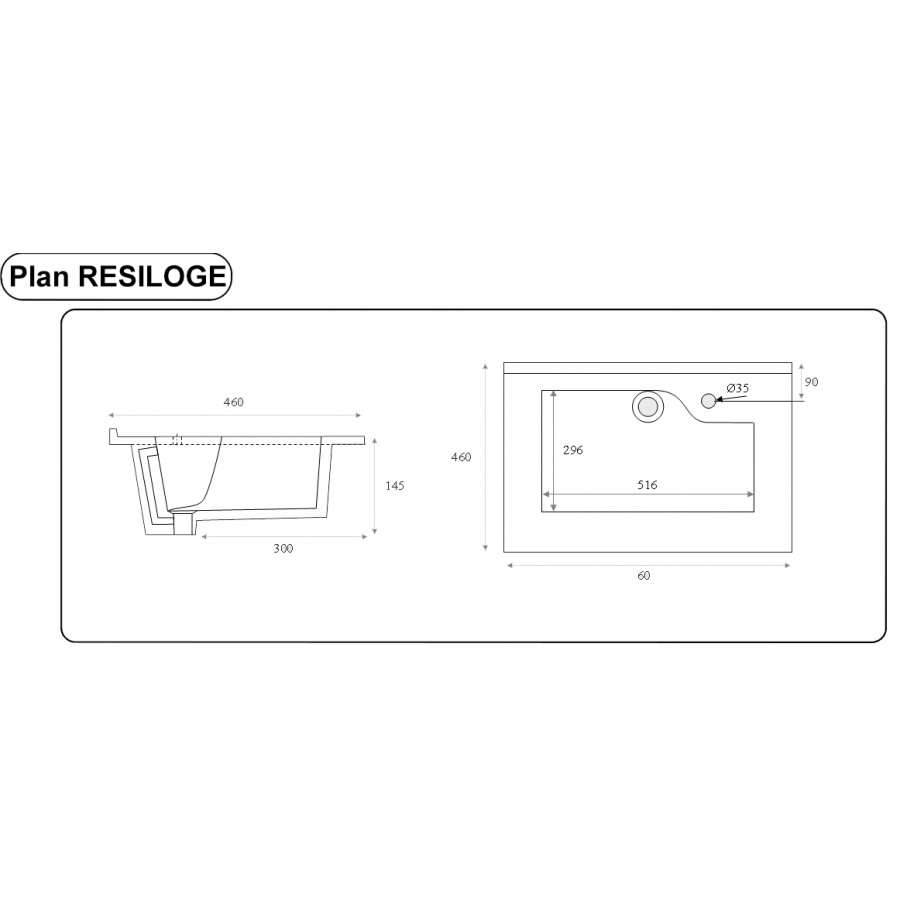 Plan simple vasque design r siloge 60 cm cuisibane for Plan vasque design