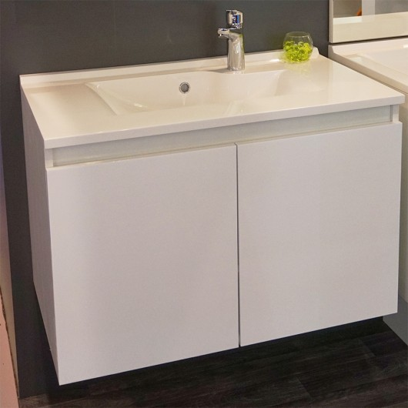 Meuble PROLINE 60 cm avec plan vasque et miroir - blanc brillant