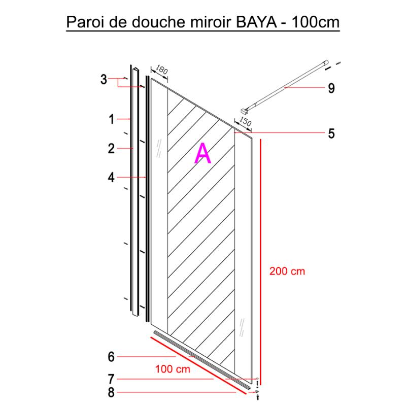 Paroi de douche fixe miroir BAYA verre 8 mm - 100x200 cm