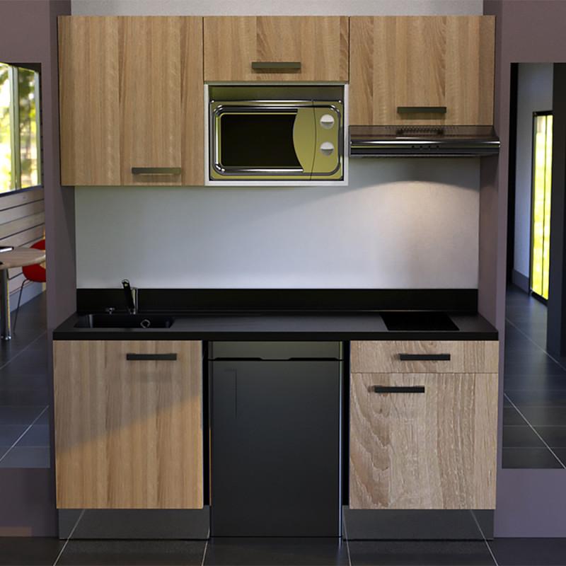 Kitchenette K22 - 180cm avec emplacement frigo Top, micro ondes et hotte