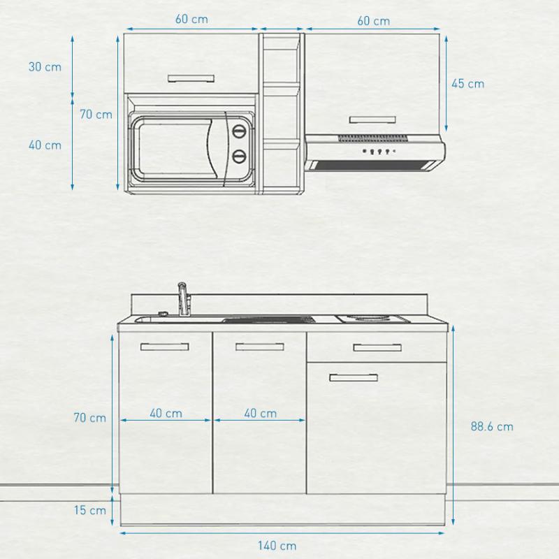 Kitchenette K16 - 140cm avec étagère, emplacement hotte et micro ondes