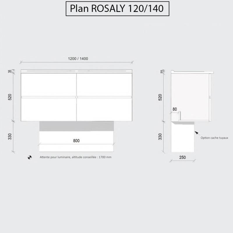 Caisson double vasque ROSALY 140 - Gris brillant