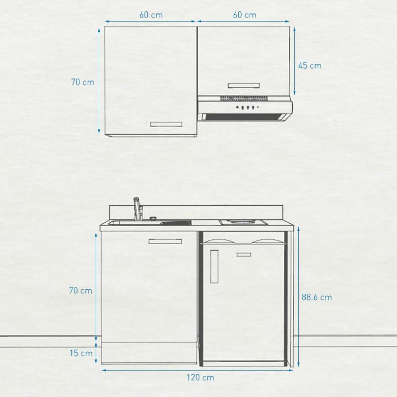 Kitchenette K01 - 120cm avec emplacement frigo top et hotte