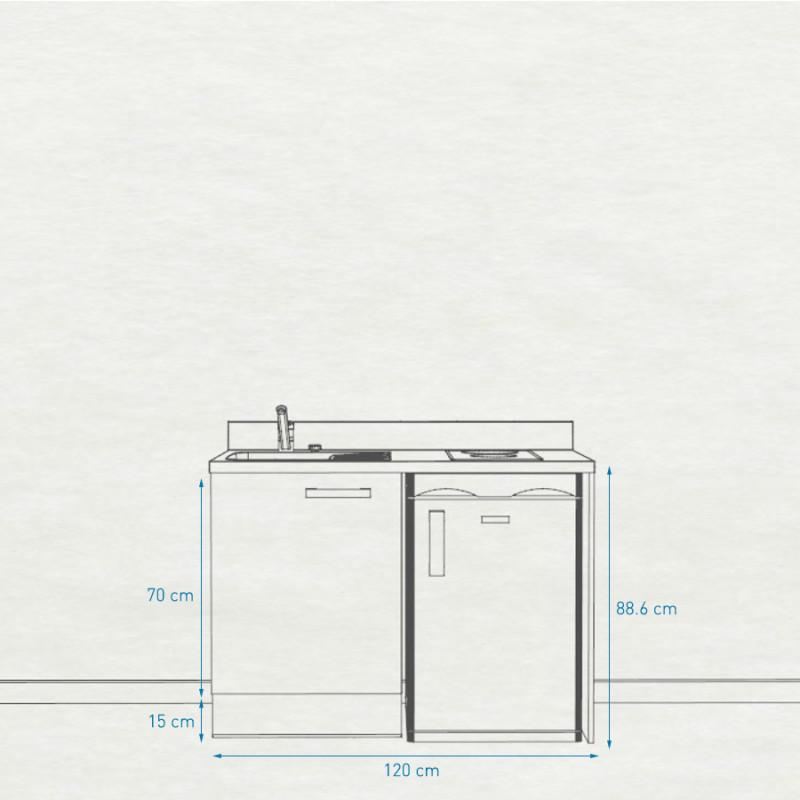 Kitchenette K08 - 120 cm avec emplacement frigo top
