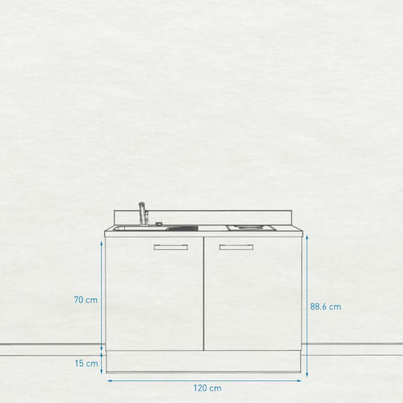 Kitchenette K09 - 120 cm avec rangements
