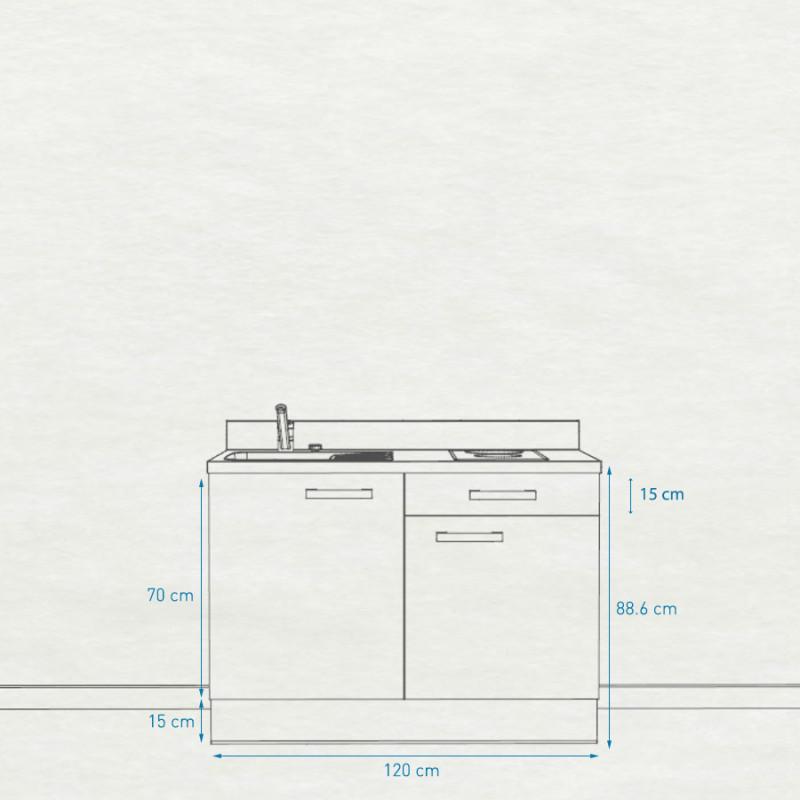 Kitchenette K10 - 120 cm avec rangements et un tiroir