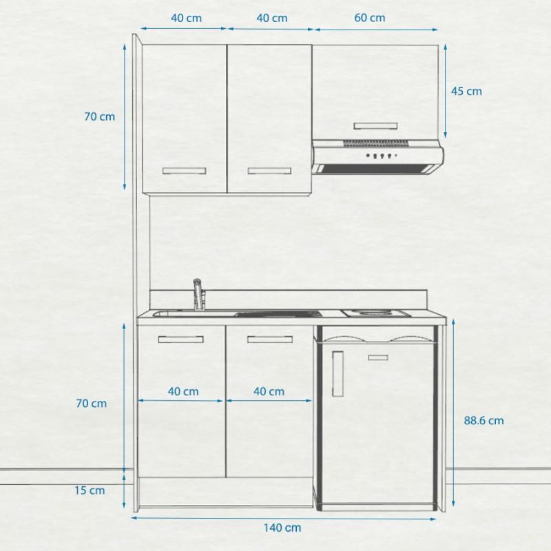 Kitchenette K12 - 140 cm avec emplacement hotte et réfrigérateur