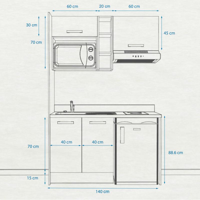 Kitchenette K13 - 140 cm avec étagère, emplacement hotte, réfrigérateur et micro-ondes