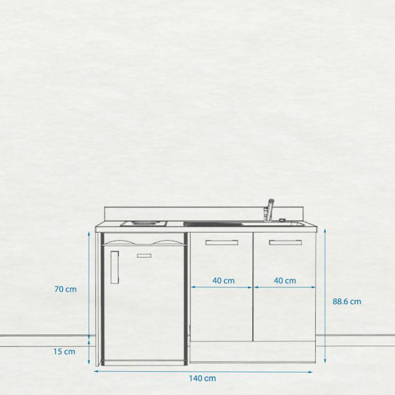 Kitchenette K17 - 140 cm avec emplacement réfrigérateur