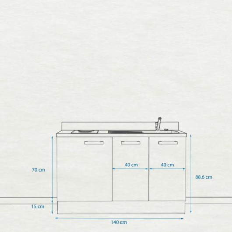 Kitchenette K18 - 140 cm avec rangements