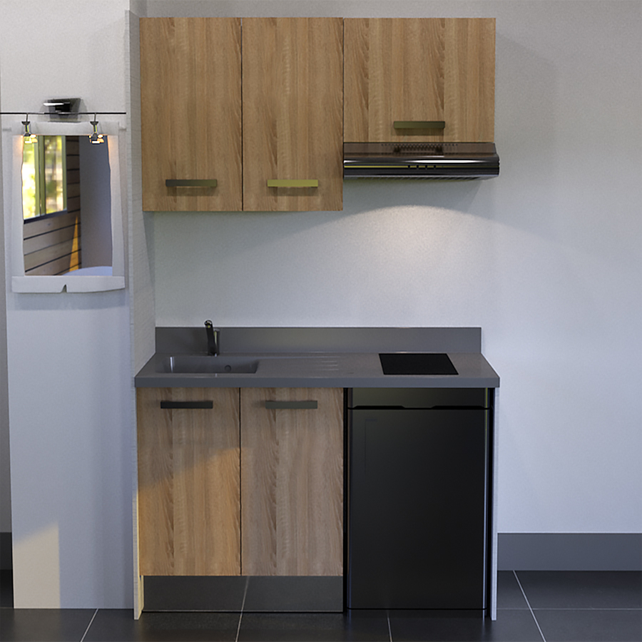 kitchenette 140 cm avec emplacement hotte et frigo. Black Bedroom Furniture Sets. Home Design Ideas