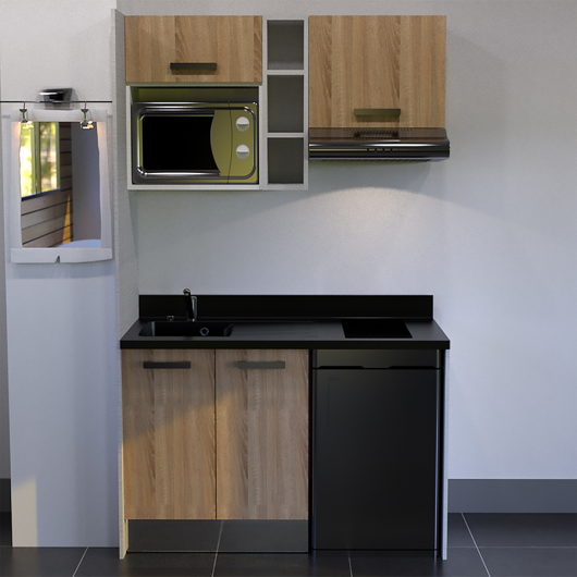 kitchenette 140 cm avec tag re emplacement hotte micro ondes et frigo. Black Bedroom Furniture Sets. Home Design Ideas