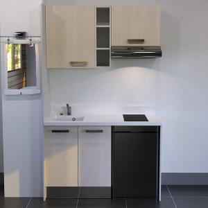 Kitchenette K14 - 140 cm avec étagère, emplacement hotte et réfrigérateur