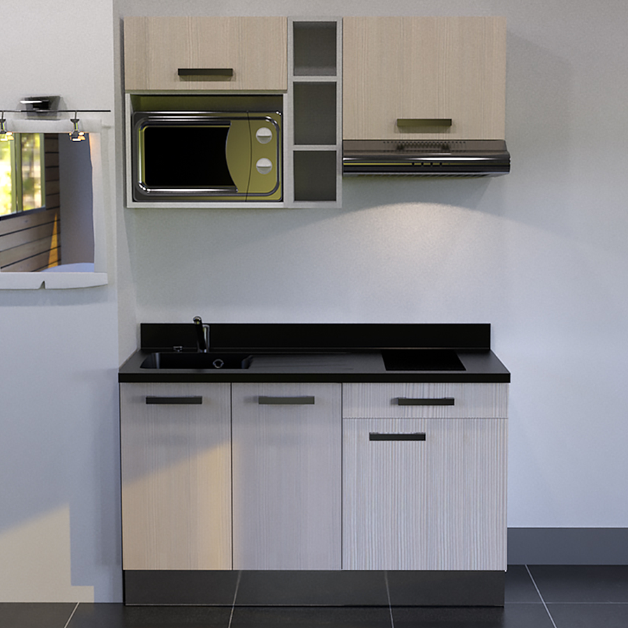 kitchenette 140 cm avec tag re emplacement hotte et micro ondes. Black Bedroom Furniture Sets. Home Design Ideas