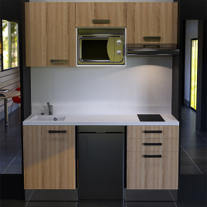 Kitchenette K20 - 180 cm avec emplacement frigo Top, micro ondes et hotte