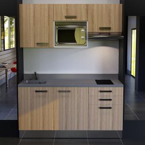 Kitchenette K21 - 180 cm avec emplacement micro ondes et hotte
