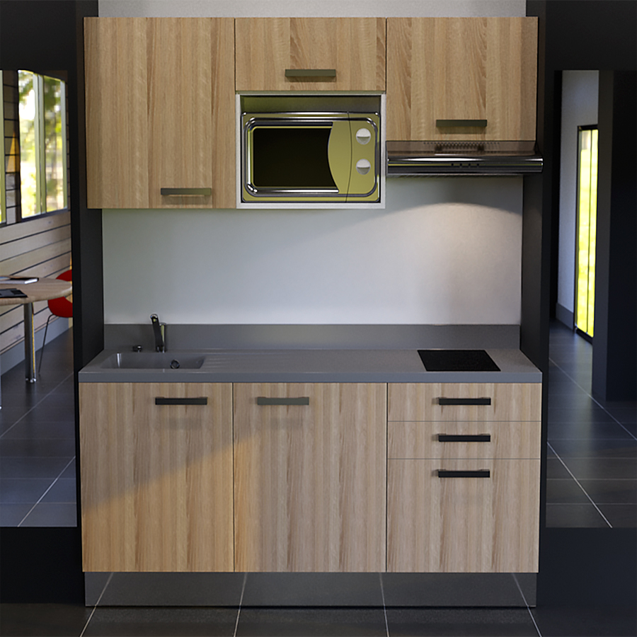 kitchenette k21 180 cm avec emplacement micro ondes et hotte. Black Bedroom Furniture Sets. Home Design Ideas