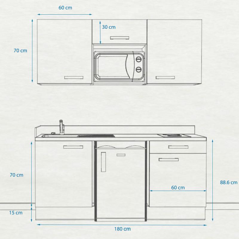 Kitchenette K24 - 180 cm avec emplacement frigo Top et micro ondes