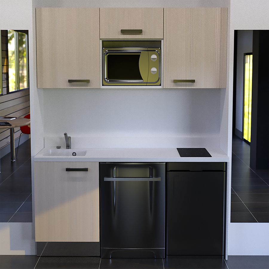 kitchenette k25 180 cm avec emplacement frigo top et micro ondes. Black Bedroom Furniture Sets. Home Design Ideas