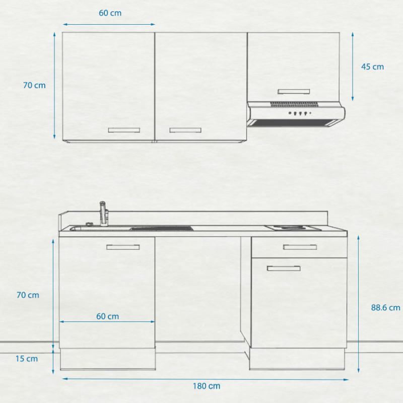 Kitchenette K26 - 180 cm avec emplacement frigo Top et hotte