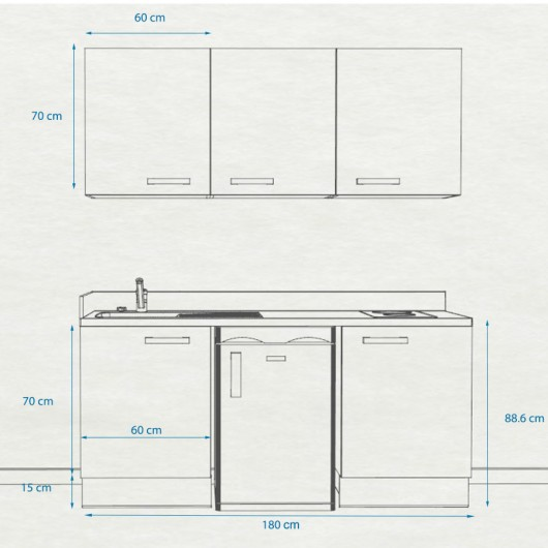 Kitchenette K28 - 180 cm avec emplacement frigo Top