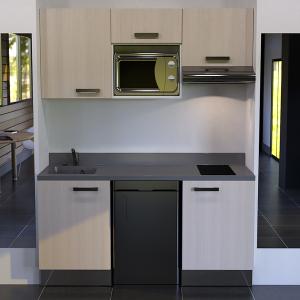 Kitchenette K29 - 180 cm avec emplacement frigo Top, hotte et micro ondes