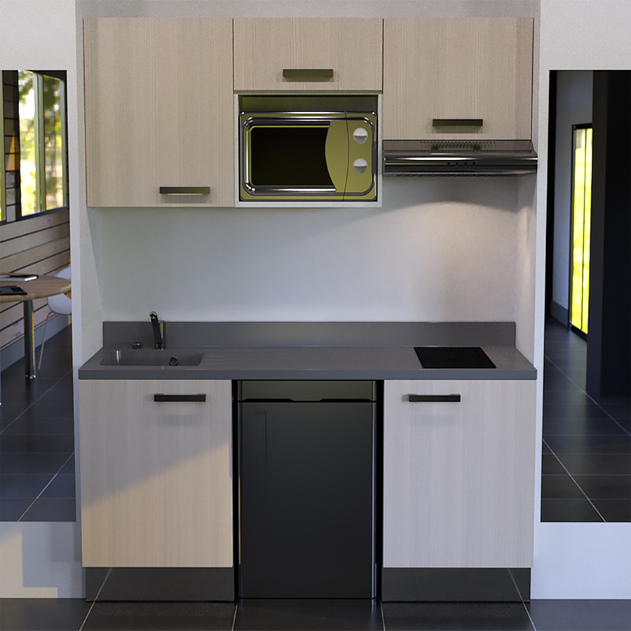 kitchenette k29 180 cm avec emplacement frigo top hotte et micro ondes. Black Bedroom Furniture Sets. Home Design Ideas