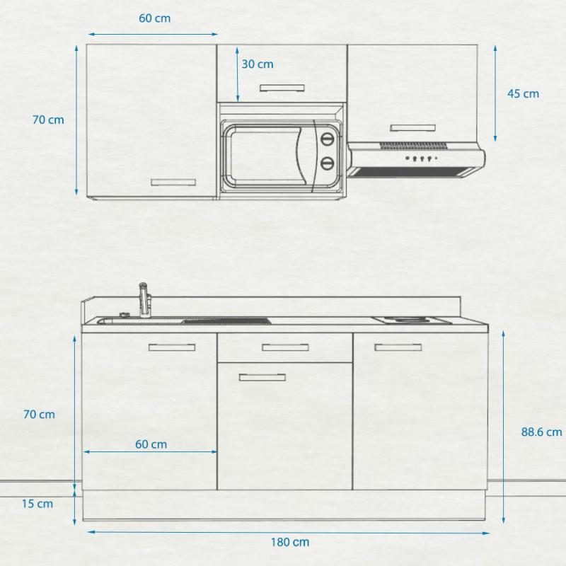 Kitchenette K30 - 180 cm avec emplacement hotte et micro ondes