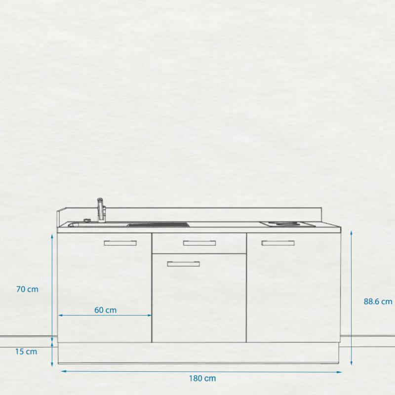 Kitchenette K34 - 180 cm avec emplacement frigo Top