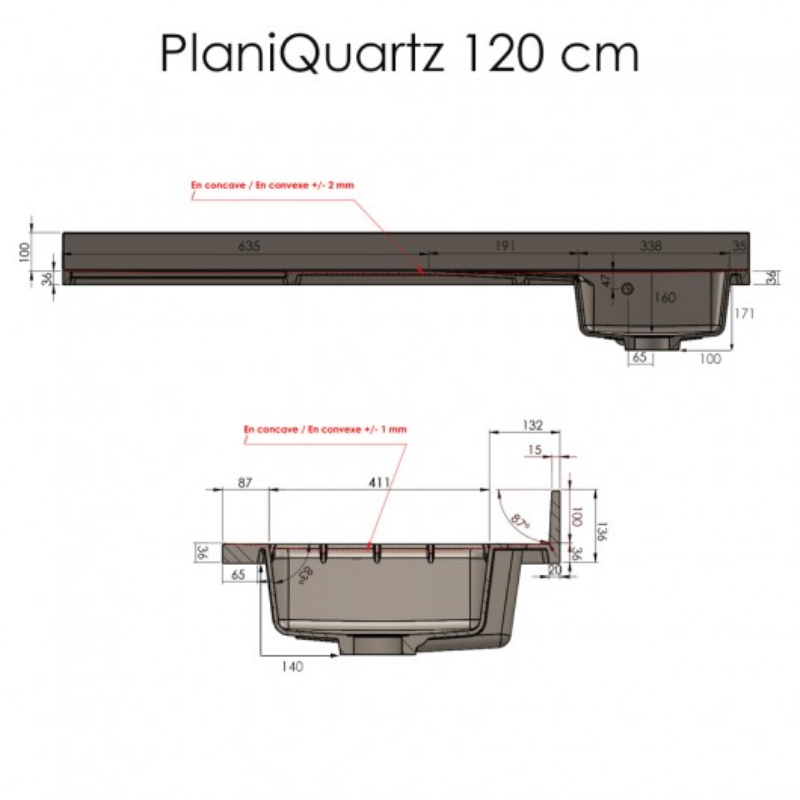 Plan de travail monobloc PlaniQuartz avec évier à gauche - 120cm CROMO