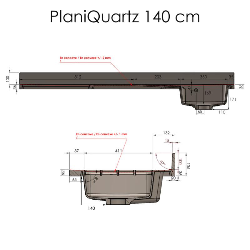 Plan de travail monobloc PlaniQuartz avec évier à droite - 140cm NERO