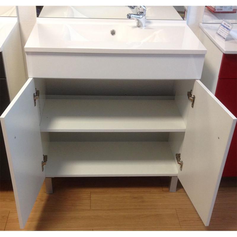 Meuble ecoline 80 cm avec plan vasque et miroir blanc brillant cuisibane - Meuble vasque 80 ...