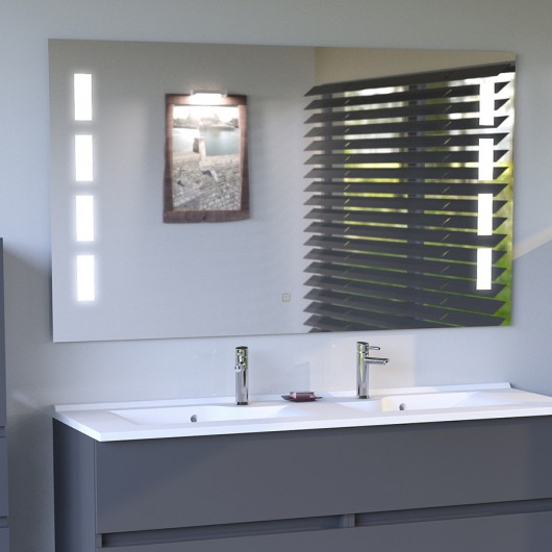 miroir anti bu e prestige 120x80 cm clairage int gr led et interrupteur sensitif cuisibane. Black Bedroom Furniture Sets. Home Design Ideas