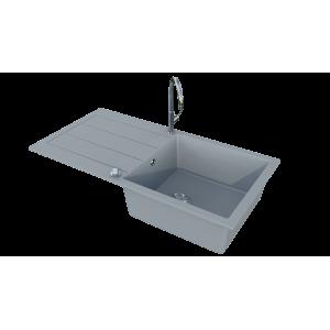 Évier EVISTONE avec 1 bac + égouttoir 99cm - Cromo