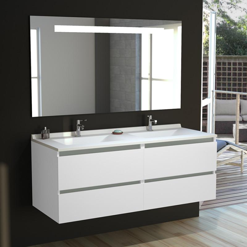 Meuble double vasque ARLEQUIN 140x55 cm avec plan vasque et miroir MIRLUX - Coloris au choix