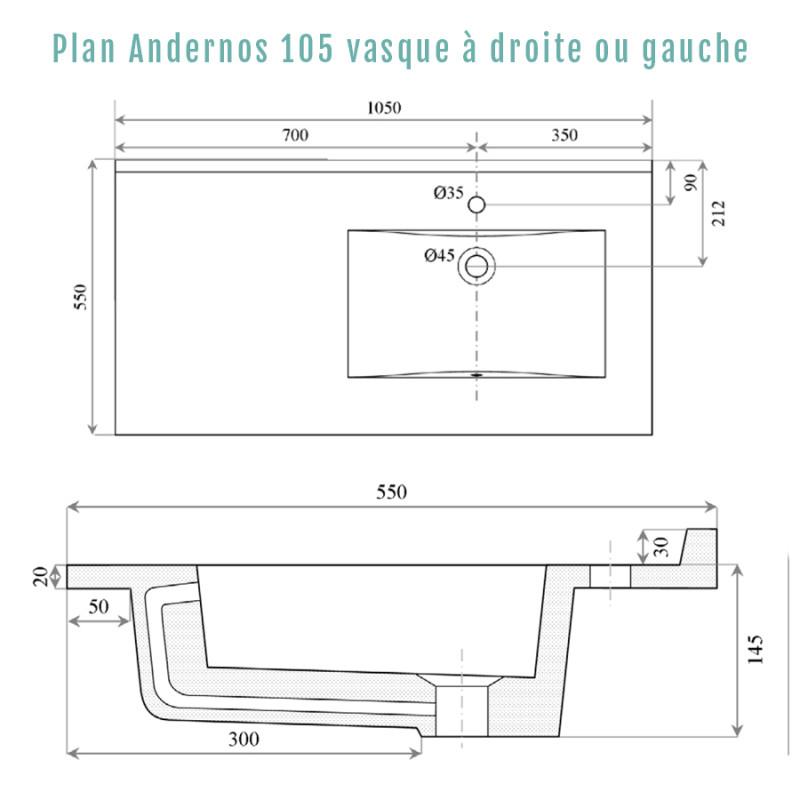 Plan vasque RÉSIPLAN - 105 cm avec vasque déportée à droite