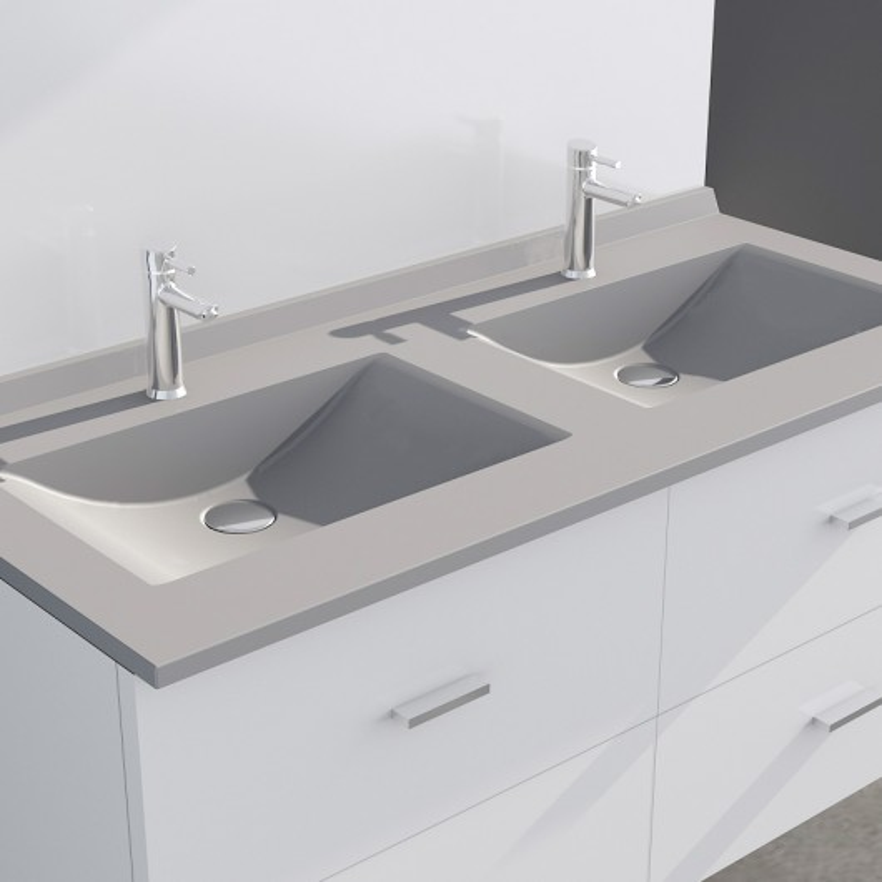 Plan double vasque en r sine de synth se gris r siplan - Plan vasque 120 cm ...