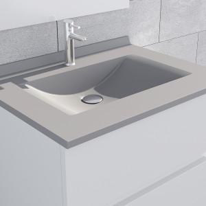 Plan simple vasque en résine de synthèse gris RÉSIPLAN - 80 cm