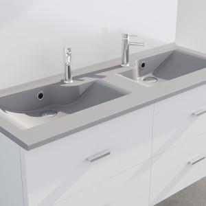 Plan double vasque design gris RÉSILOGE - 140 cm