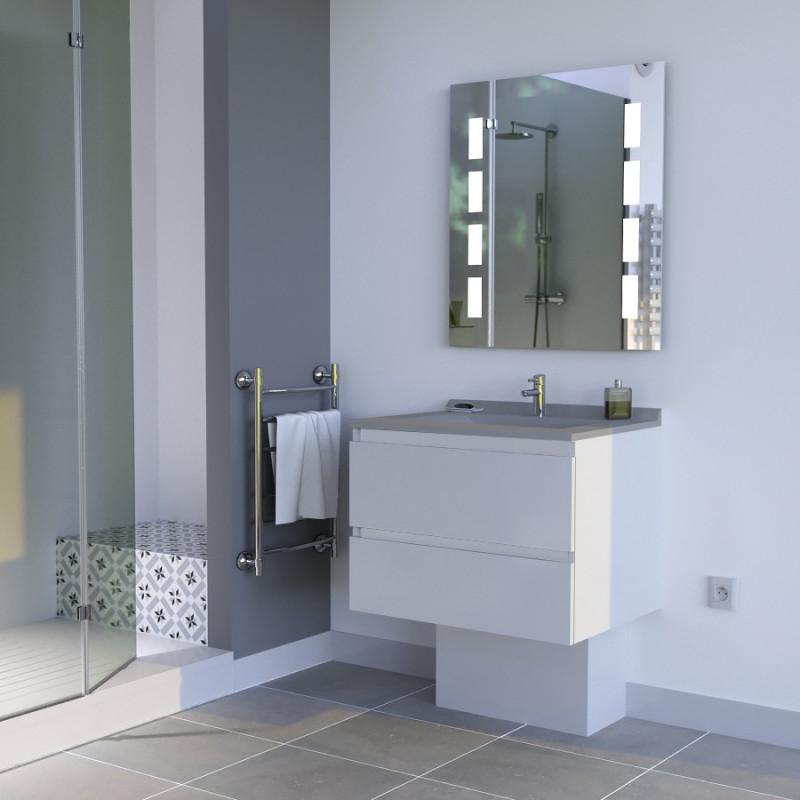 Meuble ARLEQUIN 70 cm avec plan vasque et miroir MOSAIC - Coloris au choix
