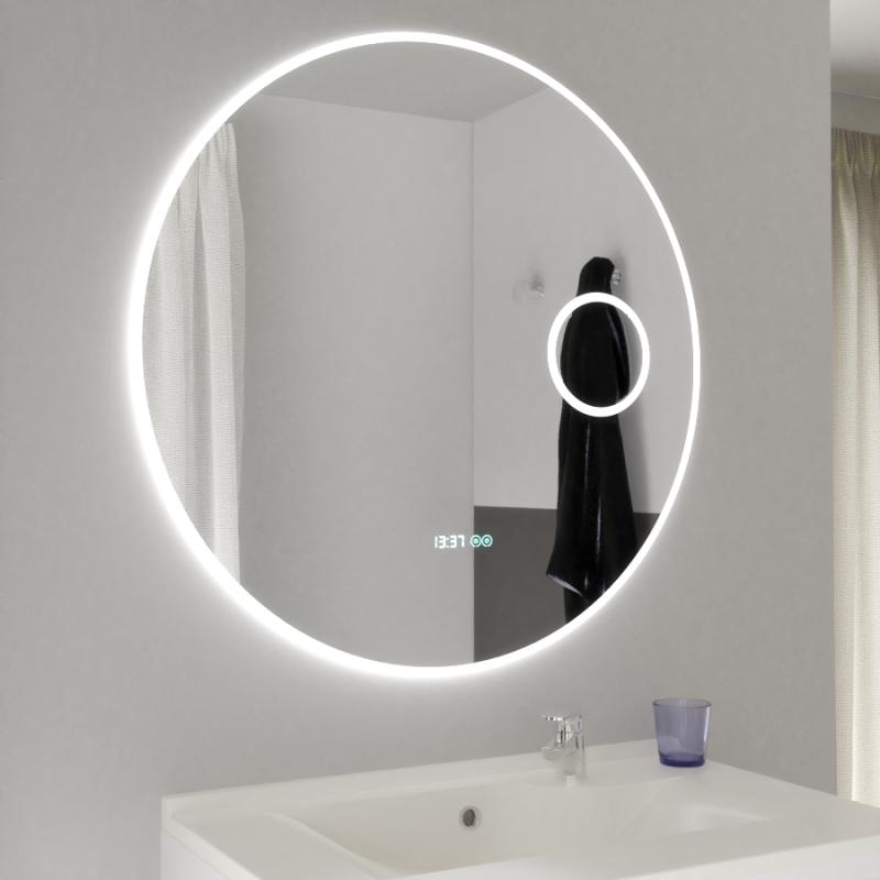 Miroir RONDINARA Ø 80cm - éclairage LED interchangeable, système anti-buée, horloge et loupe