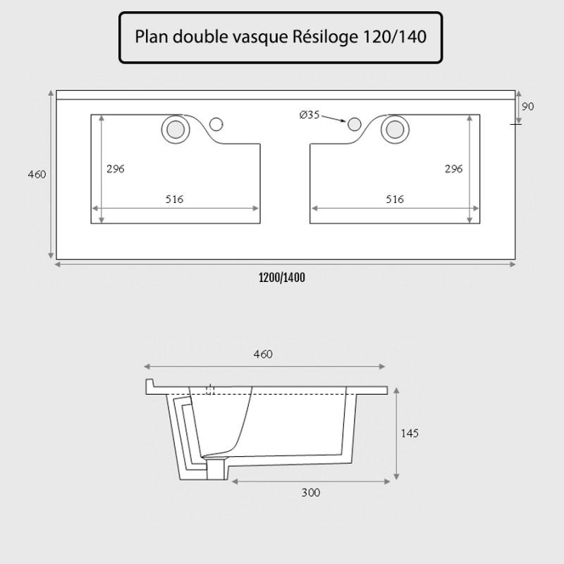 Plan double vasque design RÉSILOGE - 120 cm