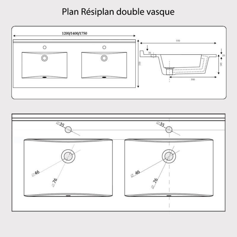 Plan double vasque en résine de synthèse RÉSIPLAN - 120 cm