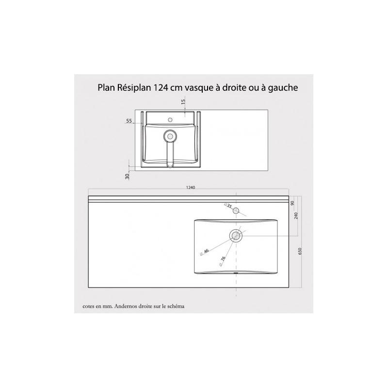 Plan vasque RÉSIPLAN - 124 cm avec vasque déportée à gauche