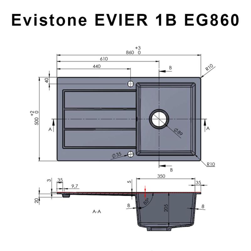 Évier EVISTONE avec 1 bac + égouttoir 86cm - Nero