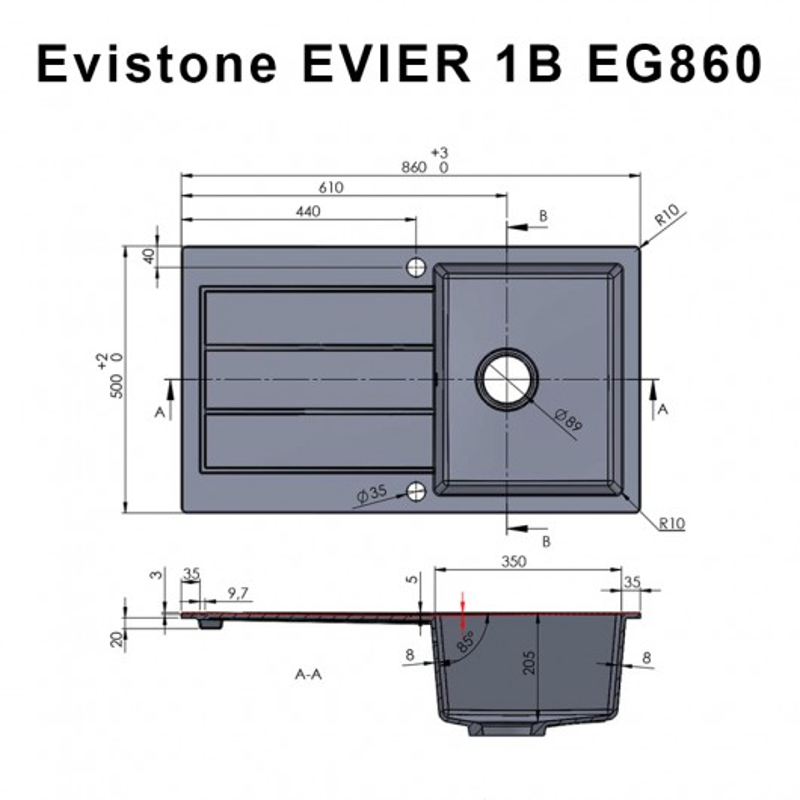 Évier EVISTONE avec 1 bac + égouttoir 86cm - Cromo