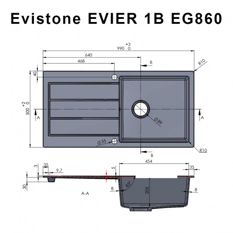 Évier EVISTONE avec 1 bac + égouttoir 99cm - Snova