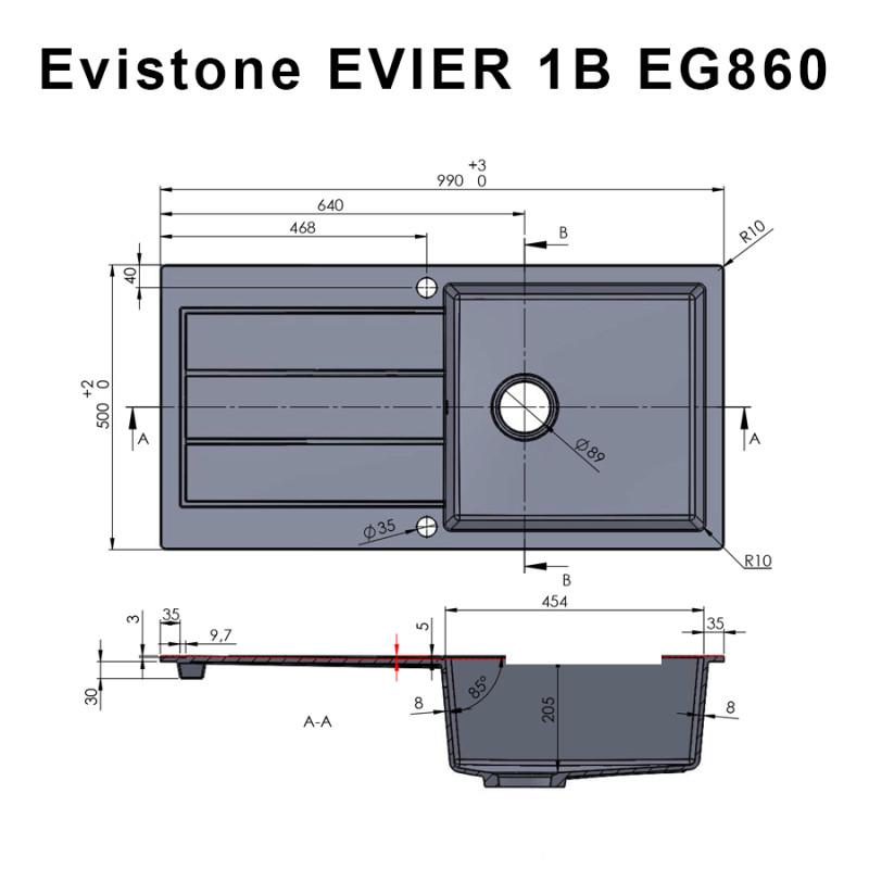 Évier EVISTONE avec 1 bac + égouttoir 99cm - Nero