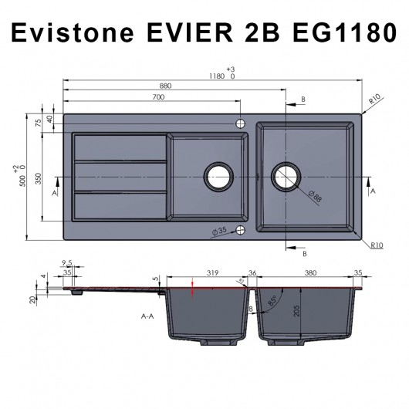 Évier EVISTONE avec 2 bacs + égouttoir 118cm - Snova